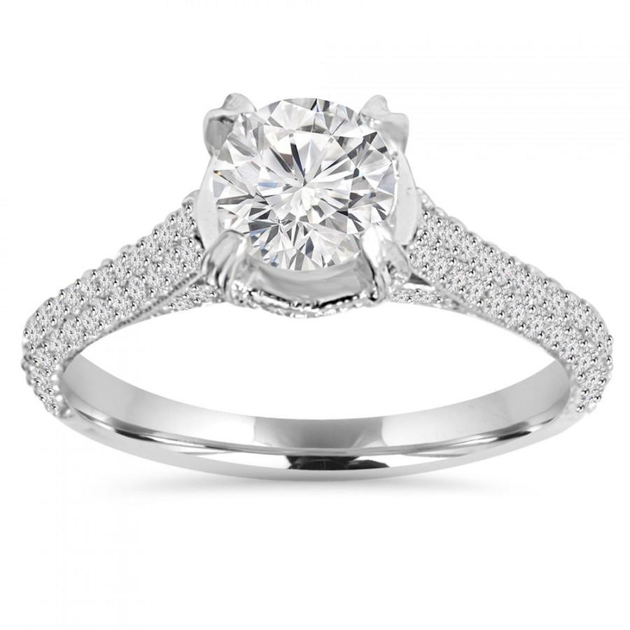 170ct Micro Pave Lab Created Diamond Engagement Ring 14k White Gold