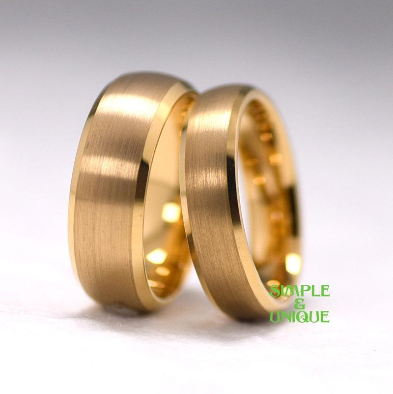 Tungsten Couple Ring Matching Wedding Bands Gold Plated Tungsten