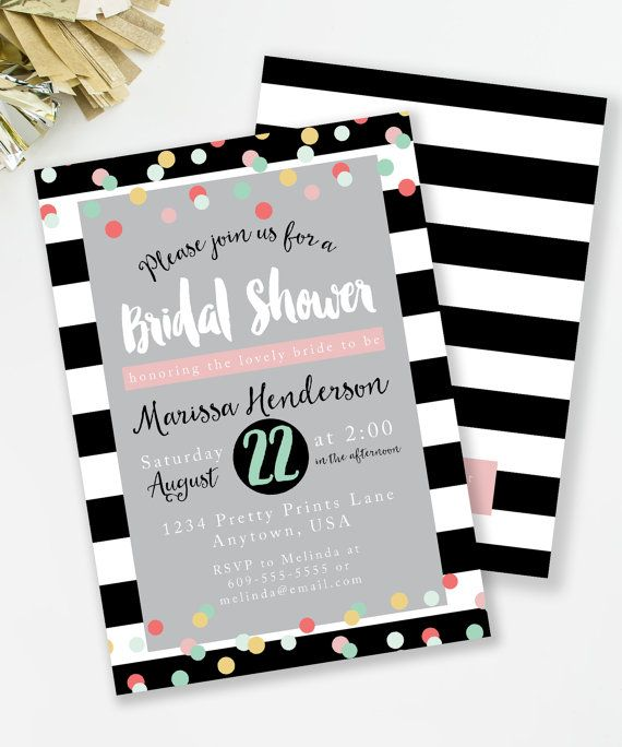 Bridal Shower Invitation, Kate Spade Inspired Bridal Shower, Black And  White, Confetti Invite, Bachelorette Party, Printable Invite, #29