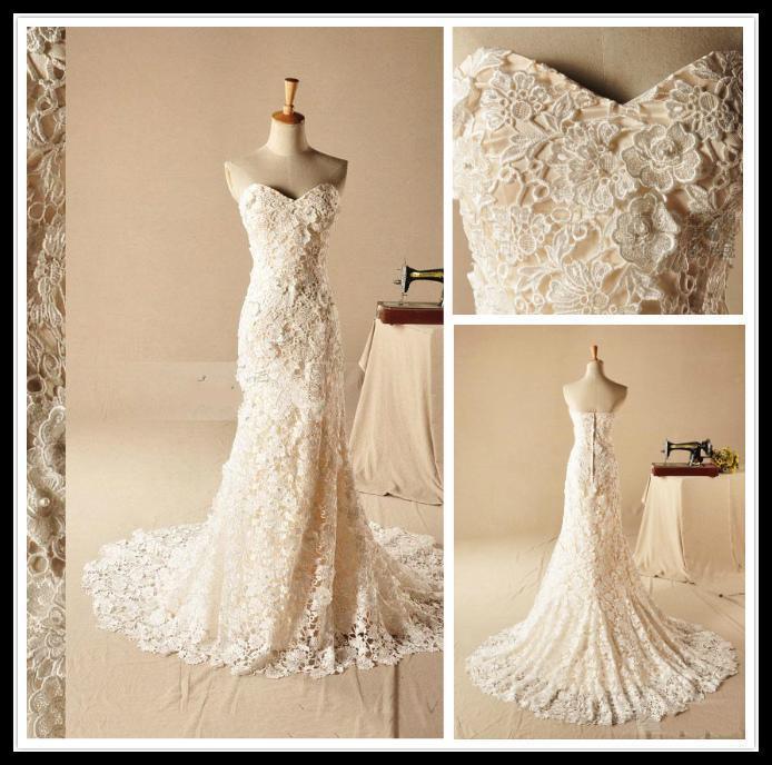 زفاف - White/Ivory Mermaid Bridal Gown Lace Wedding Dress Custom Size 6 8 10 12 14 16+