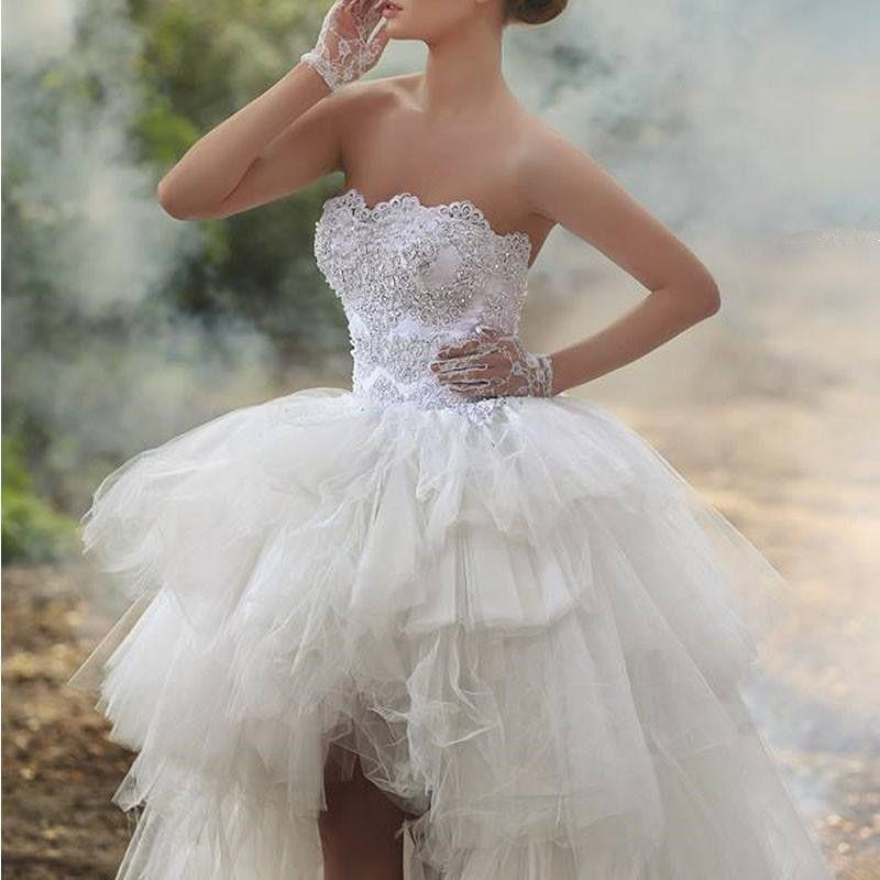 زفاف - High Low Beaded Wedding Short Dress Bridal Gown Custom Size 2 4 6 8 10 12 14 16