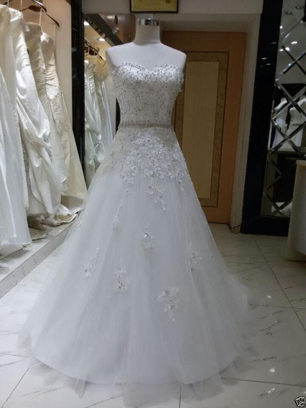 زفاف - 2016 New White/Ivory Lace Wedding Dress Bridal Gown Custom Size:6 8 10 12 14 16+