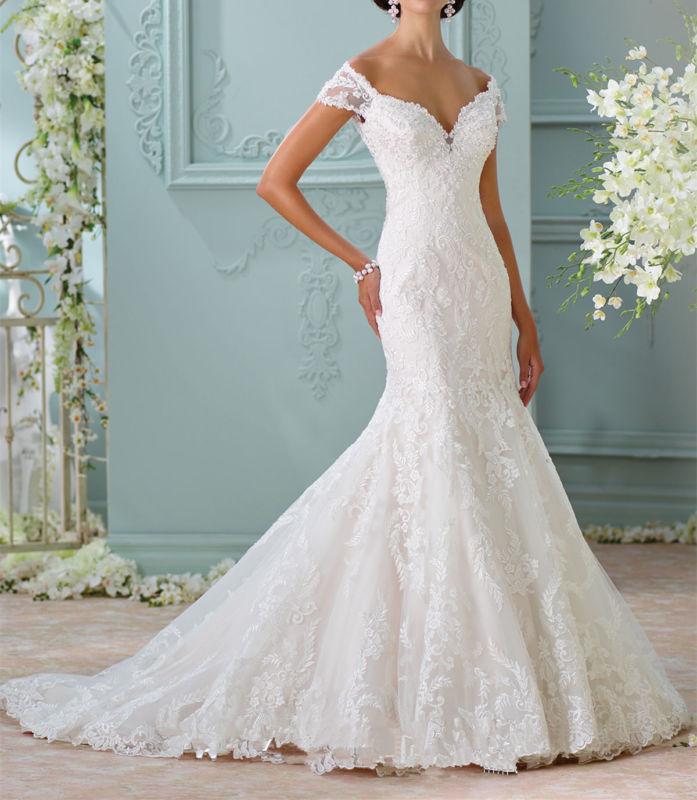 Wedding - White/Ivory Mermaid Wedding Dress Bridal Gown Custom Size 4 6 8 10 12 14 16++