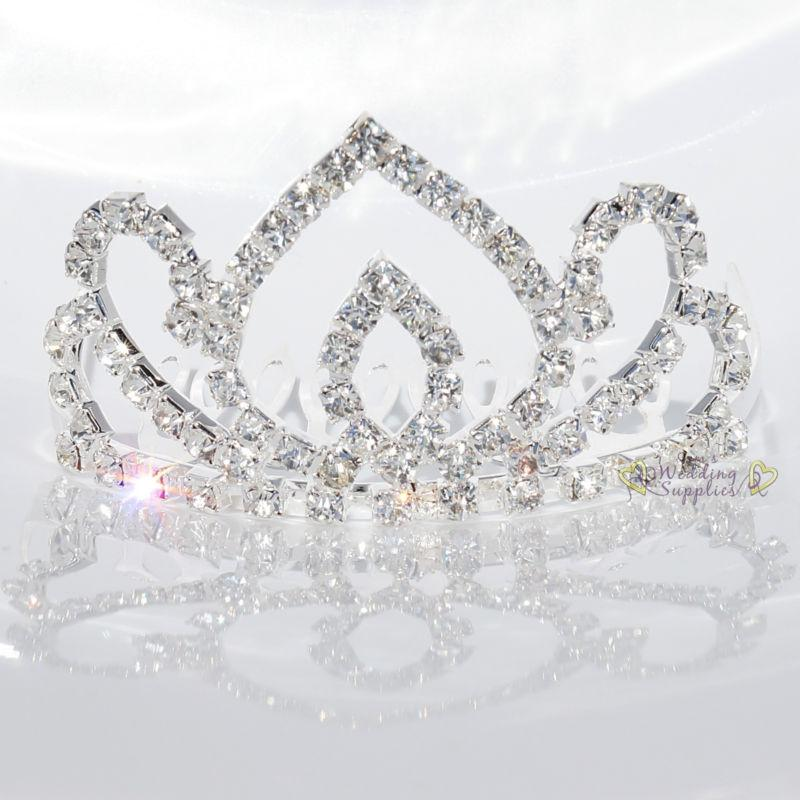 Mariage - New Small Tiara Wedding Bridal Rhinestone Crystal Hair Comb