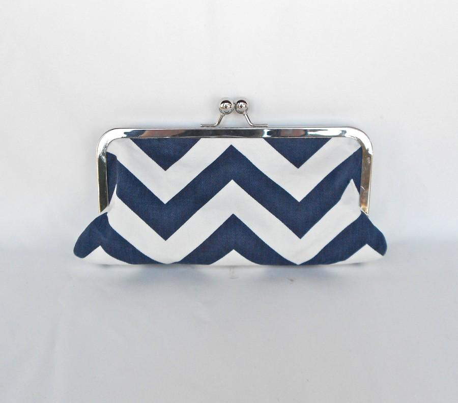 Mariage - Clutch Navy Blue & White ZigZag