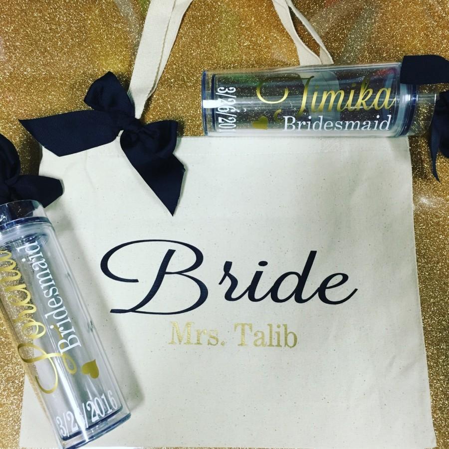 Set Tote And Tumbler Bride Team,I Bridesmaid Bag, Custom Tote Bag ...