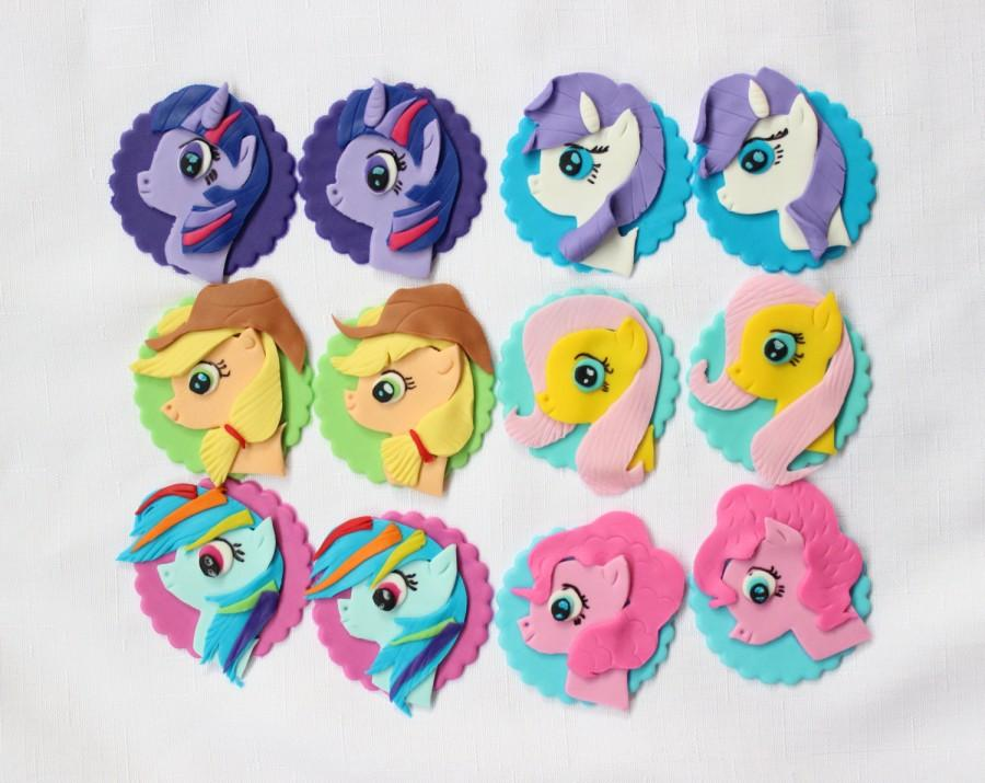 Свадьба - 12 my little pony cupcake toppers inspired edible fondant decorations birthday party horse theme party favors