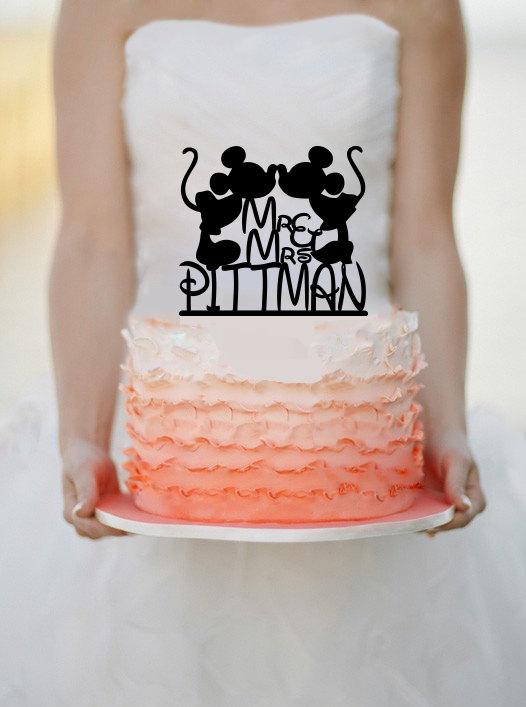 Свадьба - Disney wedding cake topper - Custom Wedding Cake Topper - Mickey & Minnie Cake Topper - Cake Topper - Personalized Cake topper