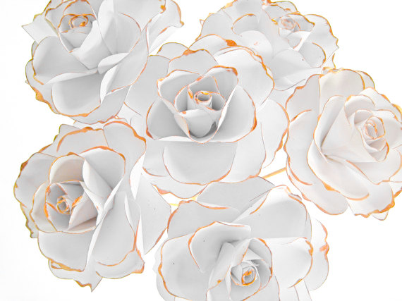 Set of 6 white paper roses white paper flowers gold stem flowers set of 6 white paper roses white paper flowers gold stem flowers white paper flowers centerpiece paper wedding decor table centerpiece mightylinksfo