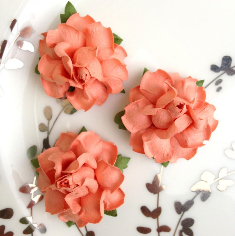 Peach Paper Flowers, DIY Wedding, Diy Wedding Favors, Table Numbers ...