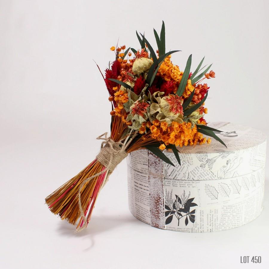 Fall wedding bouquet dry flower bride boquet bridesmaid flowers fall wedding bouquet dry flower bride boquet bridesmaid flowers hand tied dried flowers orange and red keepsake wedding boquet izmirmasajfo