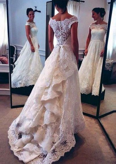 Düğün - WD06 Charming Lace Wedding Dresses,A-Line Long Train Wedding Dress Custom Made Wedding Gown, From Fancygirldress