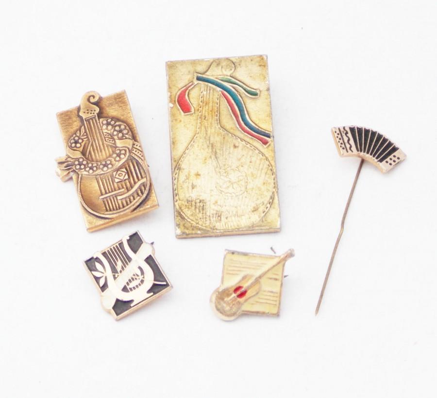 Свадьба - Musical instruments vintage badges garmon guitar Ukrainian bandura harp pins stringed instruments ancient pins musical notes musician gift