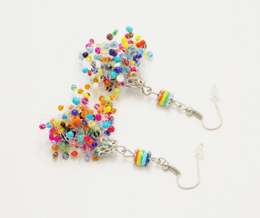 Свадьба - Colored earrings for teens Personalized gift idea air crocet handmade funny unique amazing confetti rainbow candy beadwork handmade summer