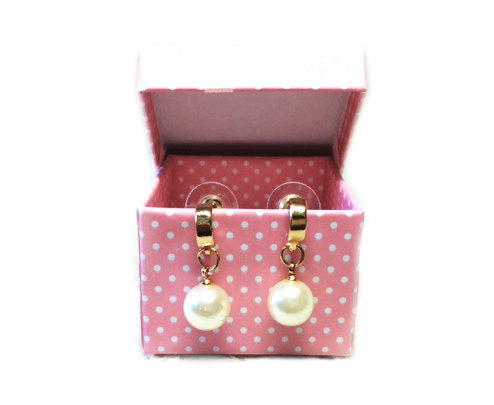 Свадьба - 18K Gold Plated Earrings With Simulated Pearl, 18K Gold Plated Anti Allergy Earrings, Gift For Her