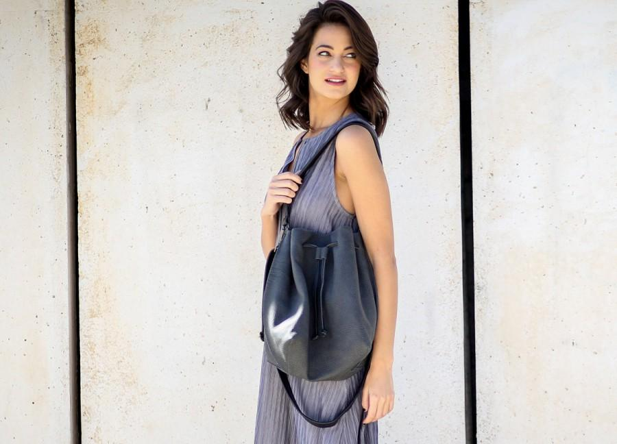 Свадьба - Gray Leather Bucket Bag, Shoulder Leather Bag, Crossbody Purse, Gift For Her