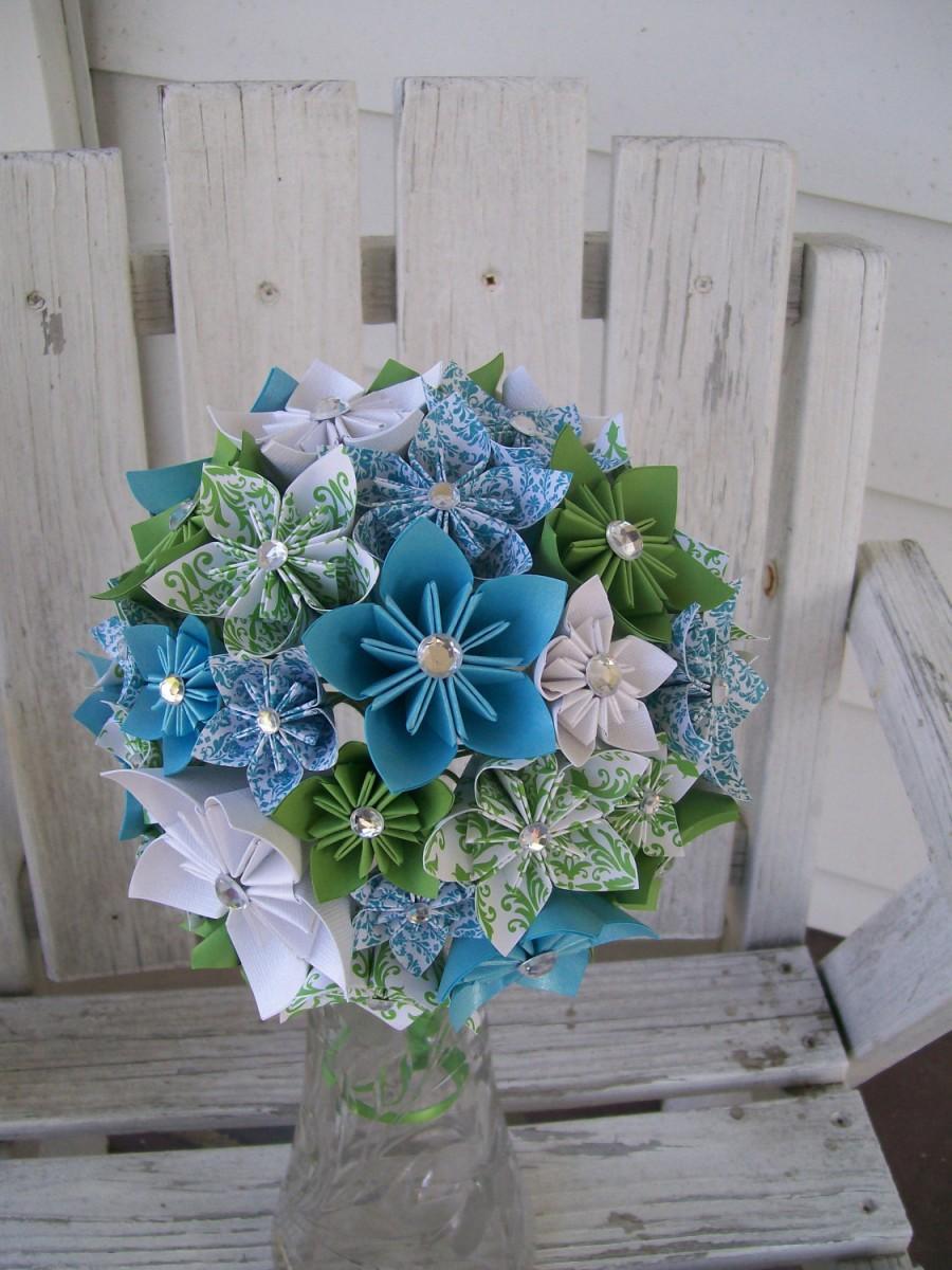 Mariage - Custom Paper Flower Bridal Bouquet - Made to Order - Kusudama - Origami