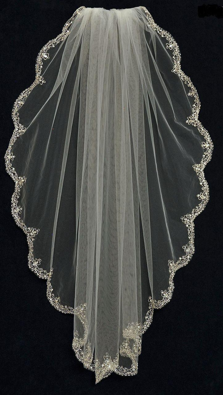 Mariage - Fingertip Length Wedding Veil With Beaded Silver Scallop Embroidery