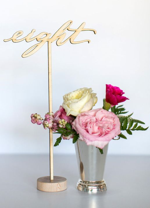Mariage - Numbers Six Through Ten - Laser Cut Script Table Numbers