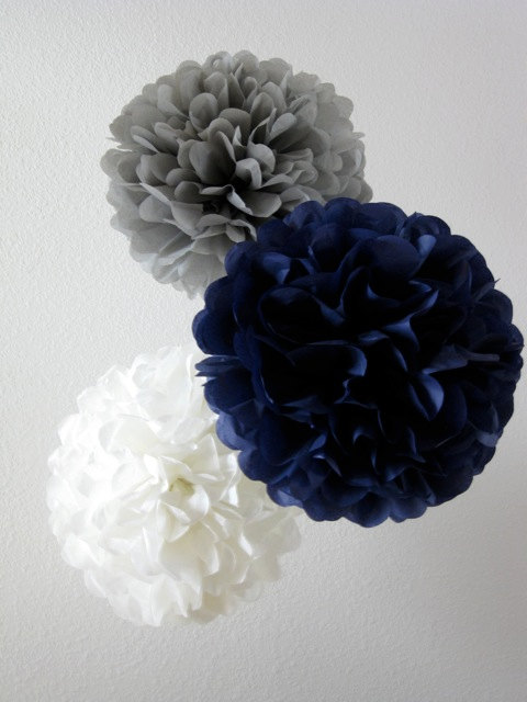 Mariage - Paper Pom Poms -Set of 10- Your Color Choice -  Natutical Navy and Gray Decorations - Baby Boy shower decor