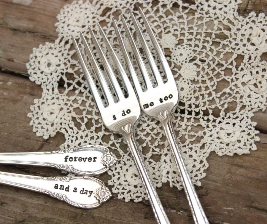 Mariage - I do Me Too Forever and a Day Wedding Fork Set - Cake Dinner - Hand Stamped - Vintage Silver Plated Flatware - mr mrs