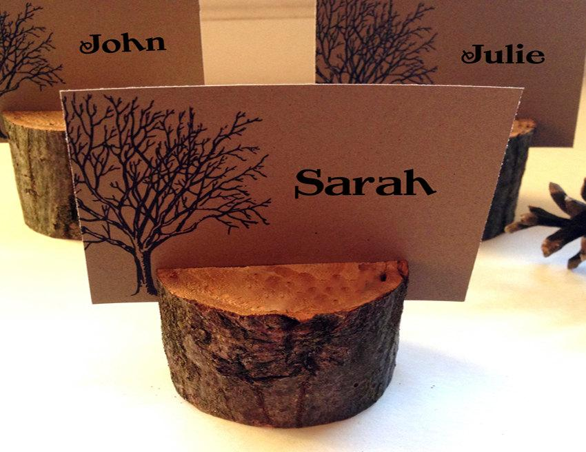 Mariage - 25 Wedding wood escort/place card holder - great for woodland and rustic themed weddings and parties