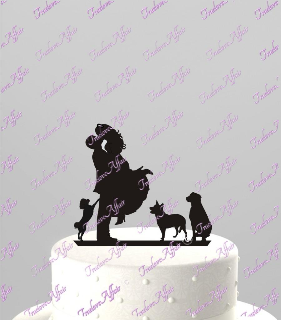 Свадьба - Custom Wedding Cake Topper WITH any PET SILHOUETTE, Acrylic Cake Topper [CT4pt]