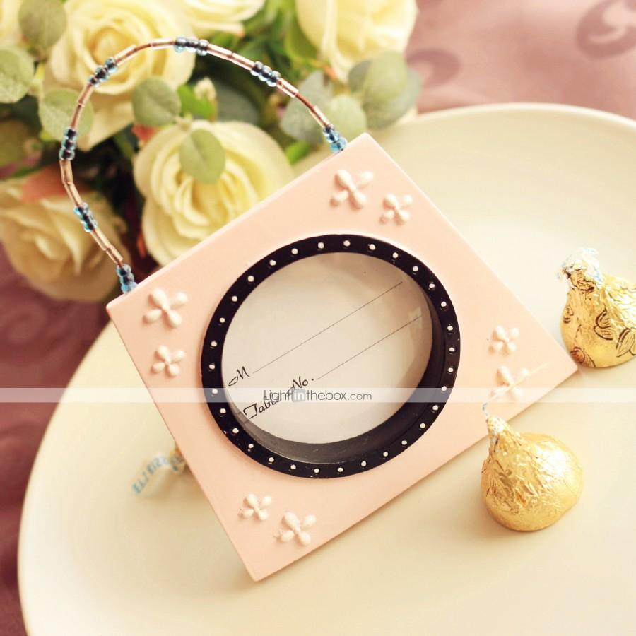 Свадьба - Beter Gifts® Pink mini Handbag Photo Frame, Table Place card holder Wedding décor, party decoration