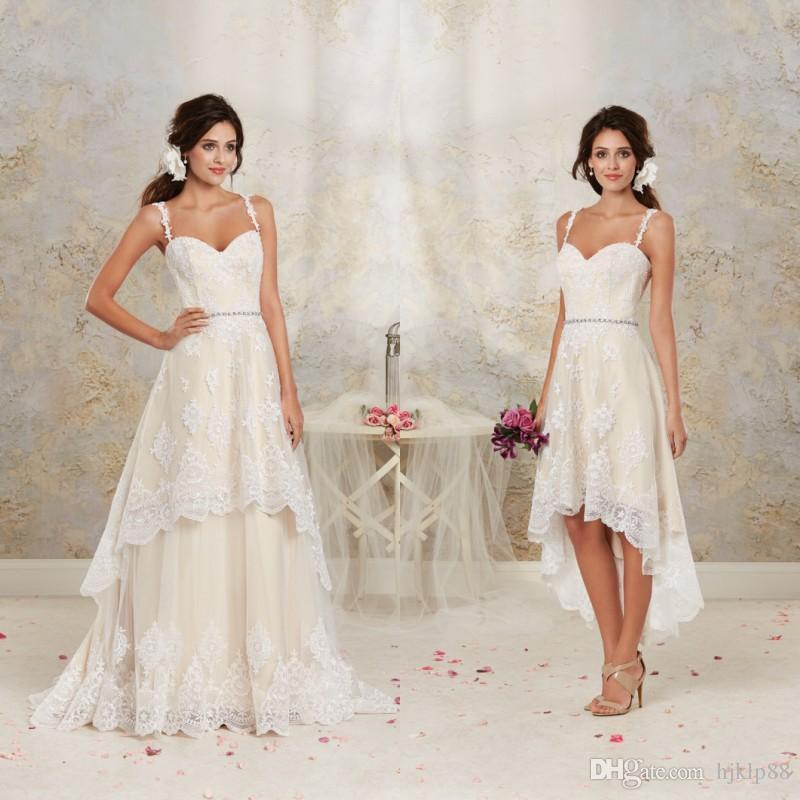 زفاف - 2016 Short High Low Wedding Dresses with Detachable Skirt A Line Vintage Bridal Gowns Spaghetti Straps Champagne Ivory White Crystals Sash Online with $101.76/Piece on Hjklp88's Store