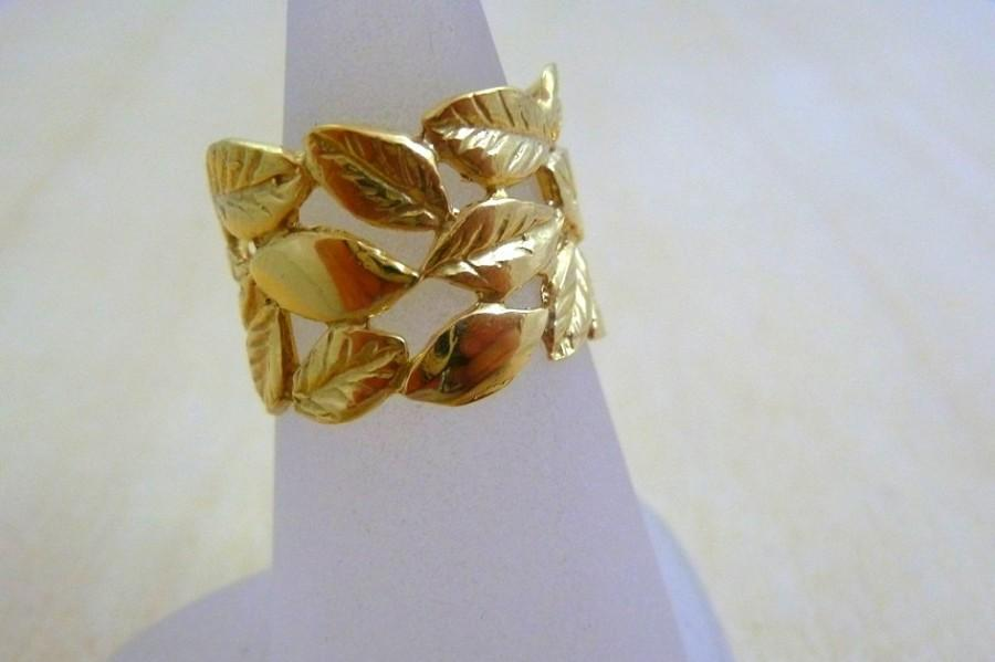 Mariage - Leaves ring, leaf ring flower ring GOLD Filled gold jewelry lace ring
