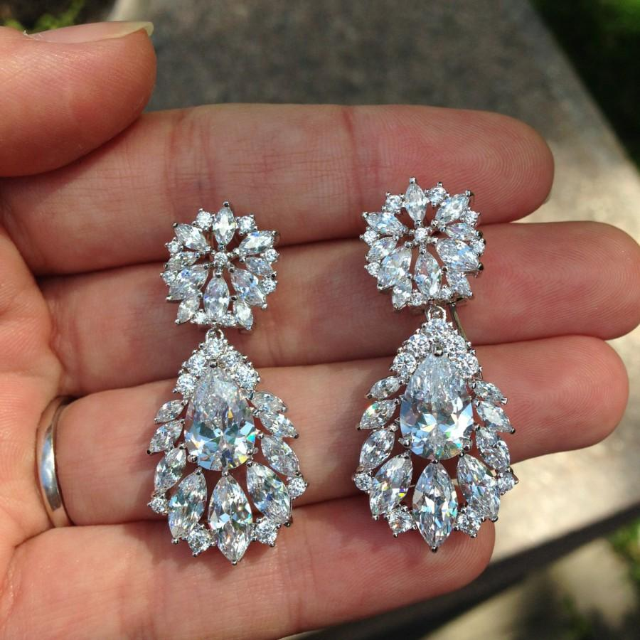 Chandelier Earrings Bridal Jewelry Vintage Wedding Crystal Drop Earring Swarovski