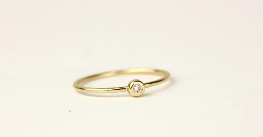 Mariage - 14k Yellow Solid Gold Diamond Engagement Ring, White Diamond Ring,Simple Diamond Ring,Dainty Stacking Diamond Ring