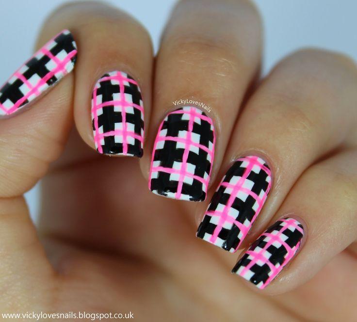 Hochzeit - Neon Check Manicure