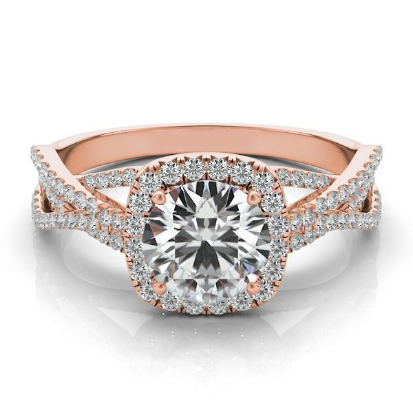 Forever One Moissanite Diamond Braided Ring 14k Rose Gold