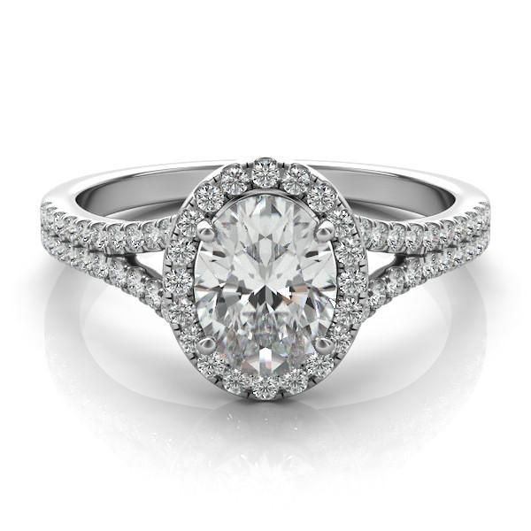 Oval Forever e Moissanite & Diamond Split Shank Ring Oval Moissanite E