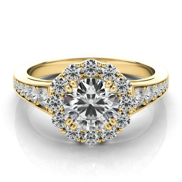 Forever e Moissanite & Graduated Diamond Ring 14k Yellow Gold Moissani