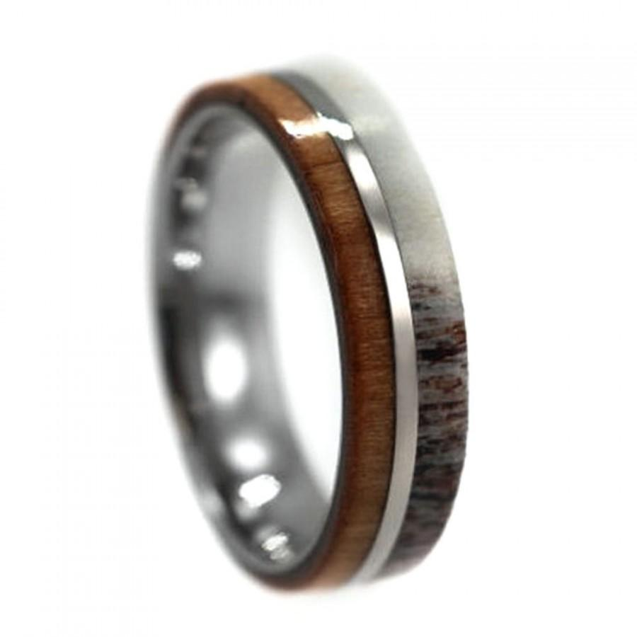 Cherry Wood And Deer Antler Wedding Ring For Men Titanium Band With
