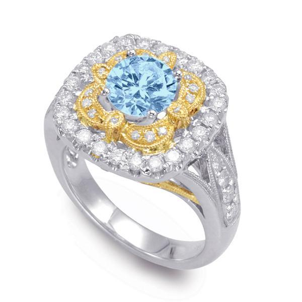Vintage Style Aquamarine Diamond Ring Anniversary Gemstone Rings Antique Jewelry Wedding Gifts For Women