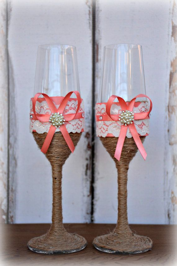 Mariage - Coral Wedding Champagne Glasses Bride Groom Flutes Tosting Rustic Country Barn Burlap Lace Bridal Shower Gift Chic