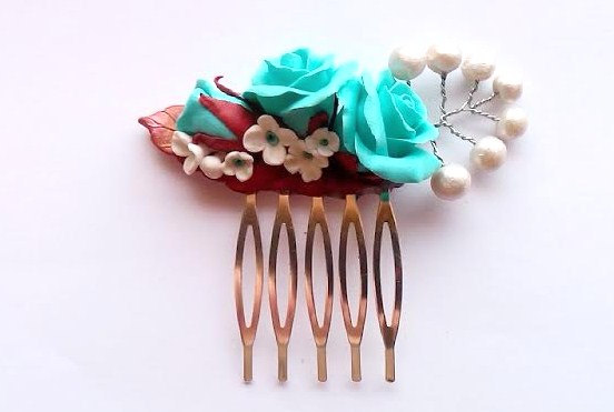 Wedding - Turquoise Rose Flowers Hair Comb. Flowers and Leaf Hair Comb. Wedding Bridal Hair Comb, Turquoise Wedding Accessory