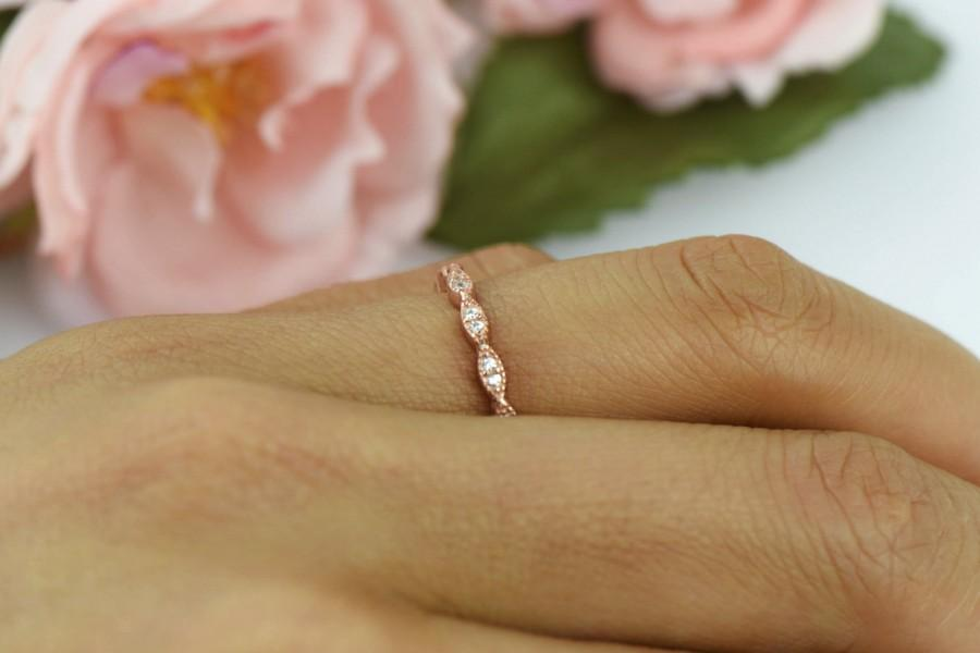 Rose Gold Band And Diamond Ring