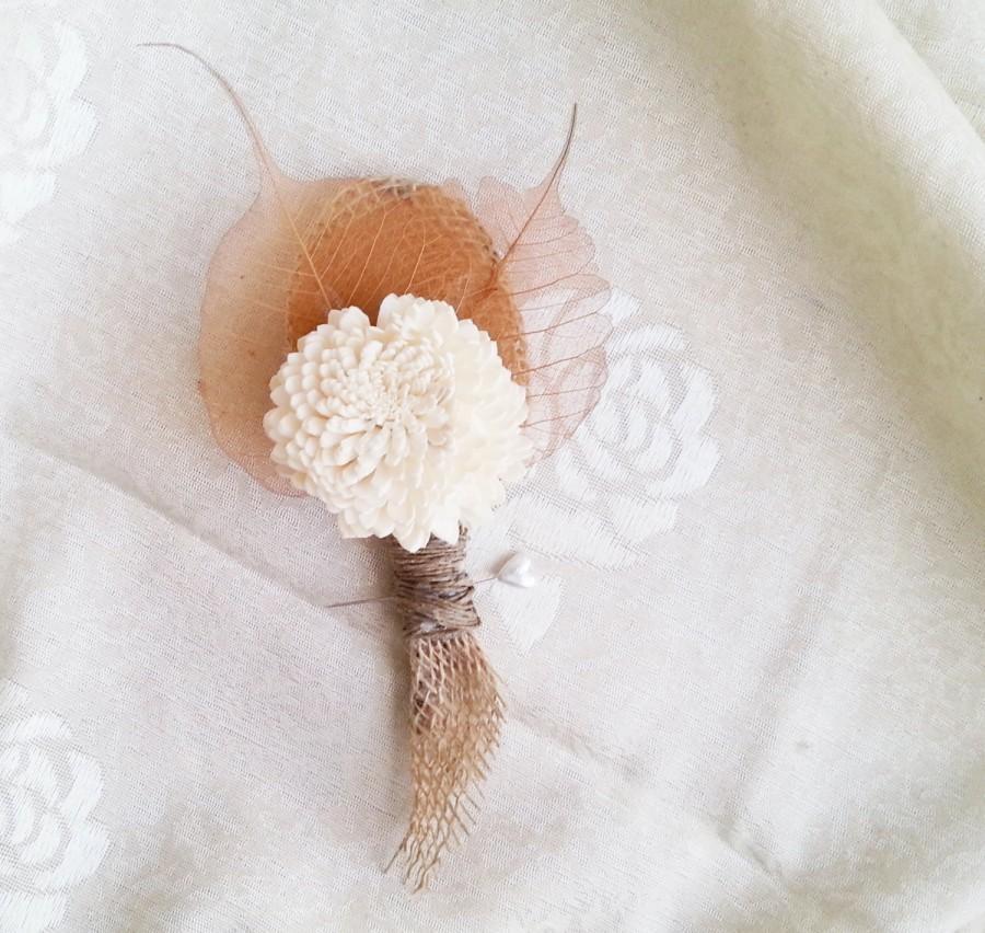 زفاف - Winter/autumn wedding rustic wedding sola flower bulap leafs Boutonniere Groom and groomsmen, Wedding Flowers custom