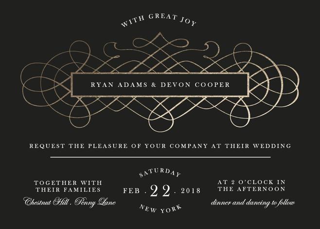 زفاف - Vintage Romance - Customizable Foil-pressed Wedding Invitations in White, Black or Gold by Elly.