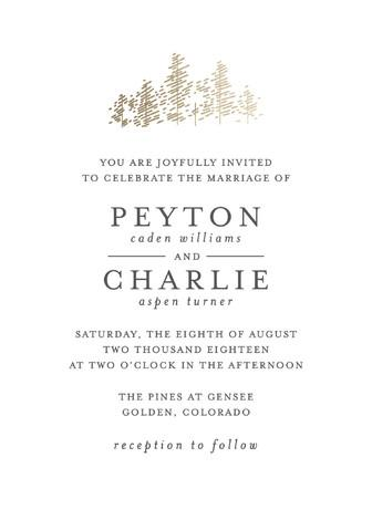 Mariage - Golden Pines - Customizable Foil-pressed Wedding Invitations in Gold, Brown or White by Bethan.