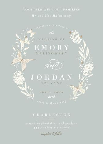 Mariage - Butterfly Garden - Customizable Wedding Invitations in Blue by Lori Wemple.
