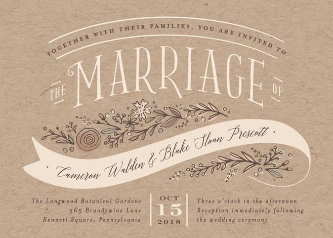 Mariage - Rustic Banner - Customizable Wedding Invitations in Brown by Jennifer Wick.