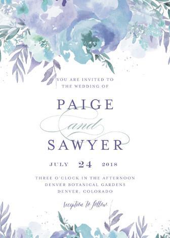 Mariage - Big Blooms - Customizable Wedding Invitations in Blue, Purple or Green by Grace Kreinbrink.