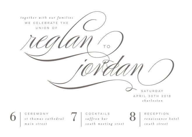 Mariage - Fox Trot - Customizable Wedding Invitations in White or Gray by Lori Wemple.