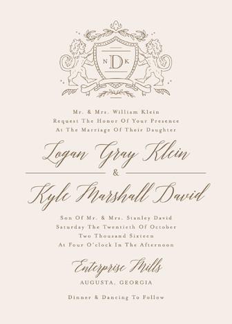 زفاف - Classic Crest - Customizable Wedding Invitations in Beige or Gold by Kristen Smith.