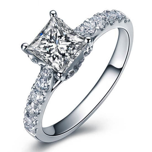 Hochzeit - Princess Cut Forever Brilliant Moissanite Engagement Ring and Diamonds 14k White Gold or 14k Yellow Gold Diamond Ring